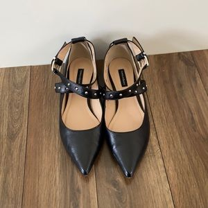 Town Shoes Leather Criss-Cross Ankle Strap Flats